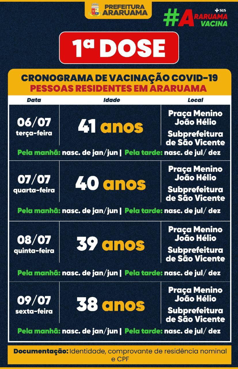 Calendário de vacinação da primeira dose para pessoas de 38 a 41 anos