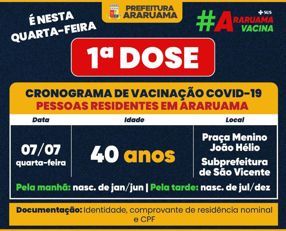Calendário de vacinação da primeira dose para essa quarta-feira, 07