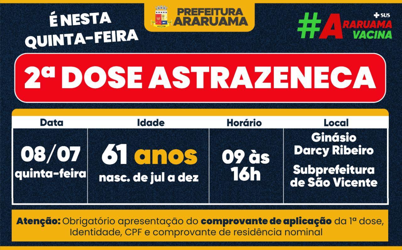 Calendário de vacinação da segunda dose da Astrazeneca para essa quinta-feira, 08