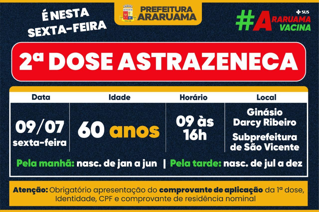 Calendário de vacinação da segunda dose da Astrazeneca para essa sexta-feira, 09
