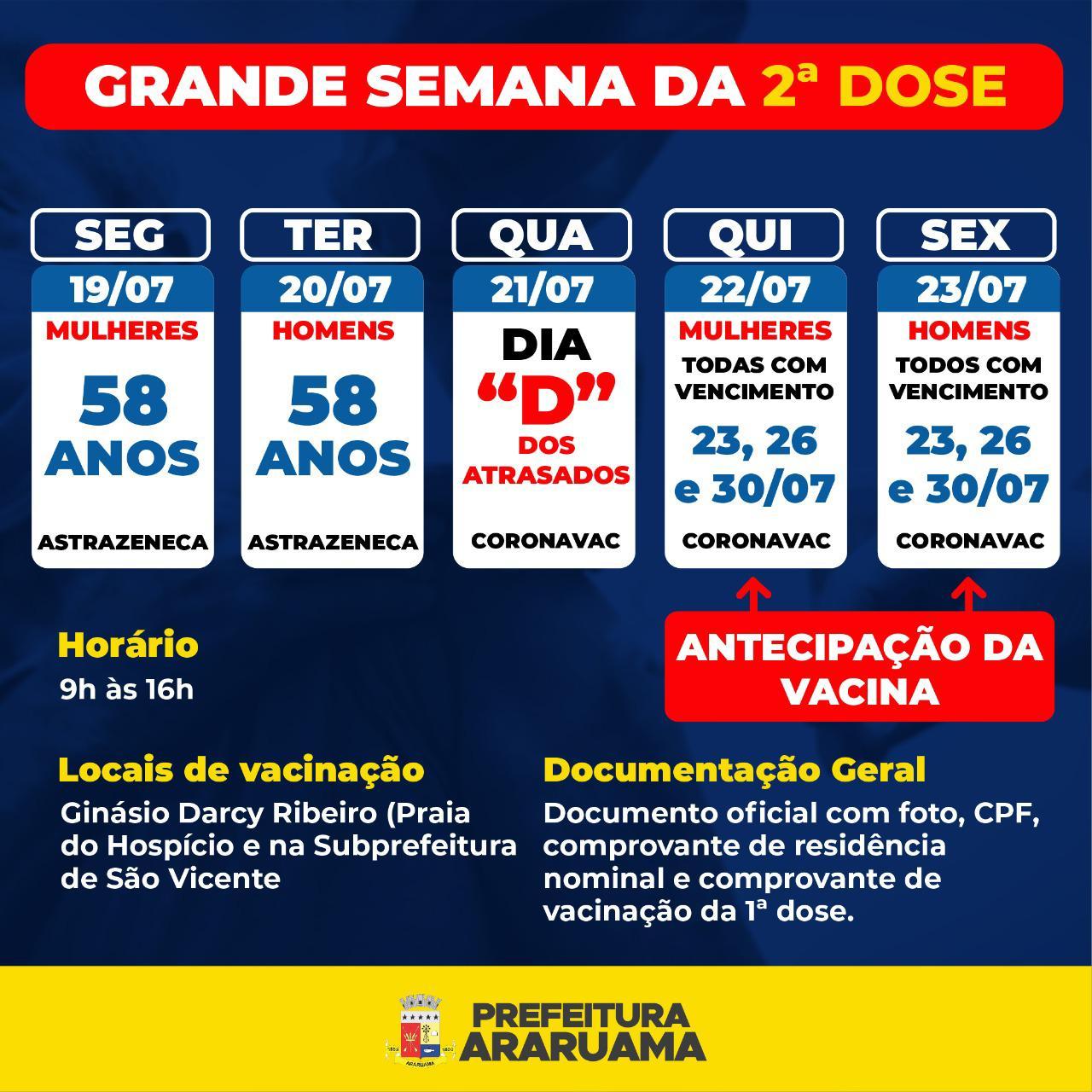 """Prefeitura de Araruama realiza a """"Grande Semana da Segunda Dose contra a Covid-19, com destaque para o Dia D Coronavac atrasados"""""""