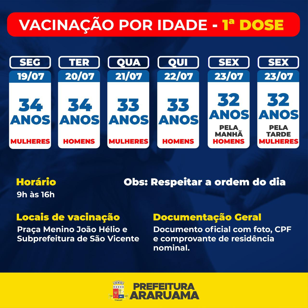 Calendário de vacinação da primeira dose para pessoas de 32 a 34 anos