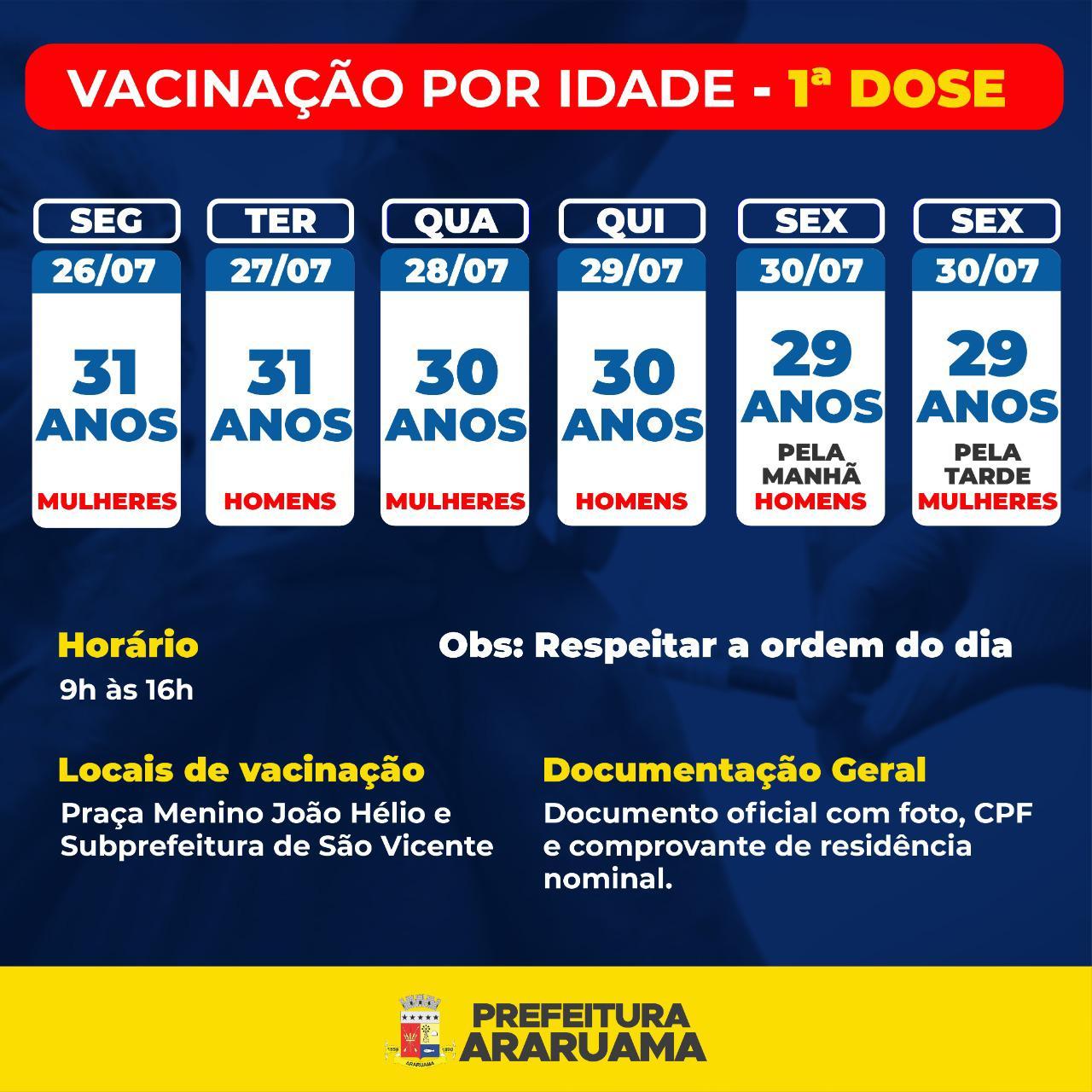 Calendário de Vacinação da primeira dose para pessoas de 29 a 31 anos
