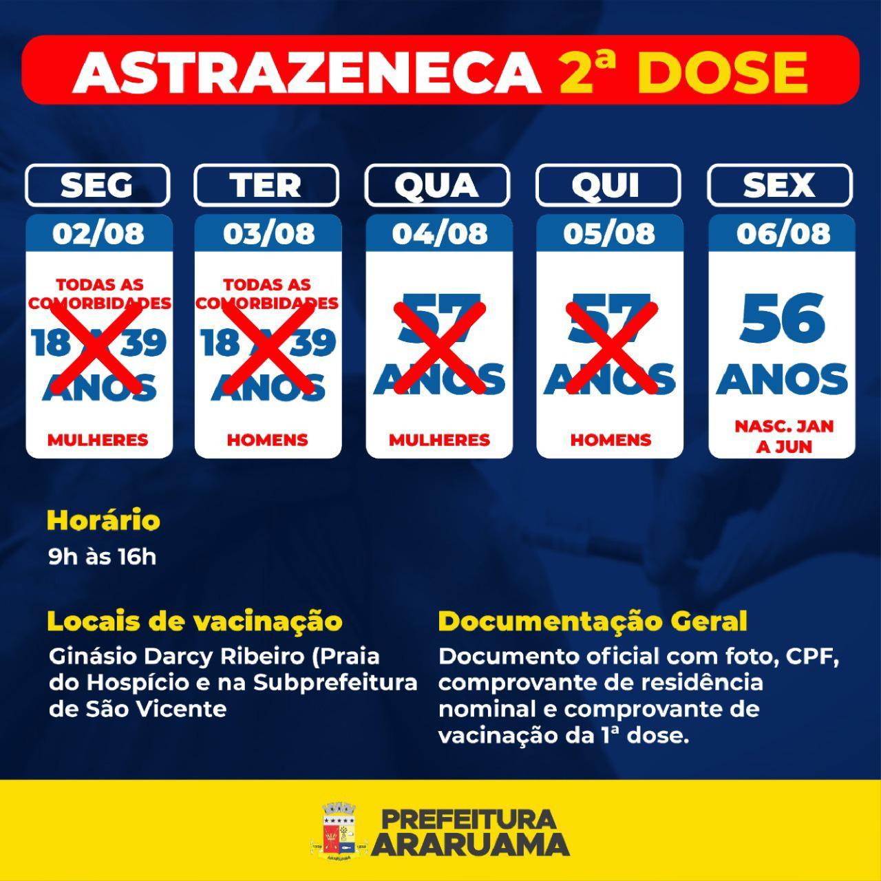 Calendário de vacinação da segunda dose da Astrazeneca para essa sexta-feira, 06