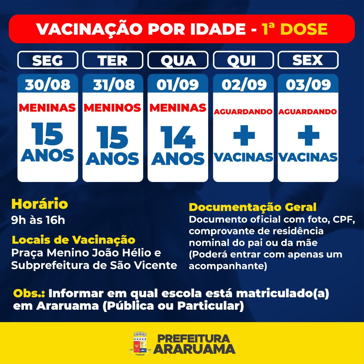 Araruama vai vacinar adolescentes de 14 e 15 anos contra a Covid-19
