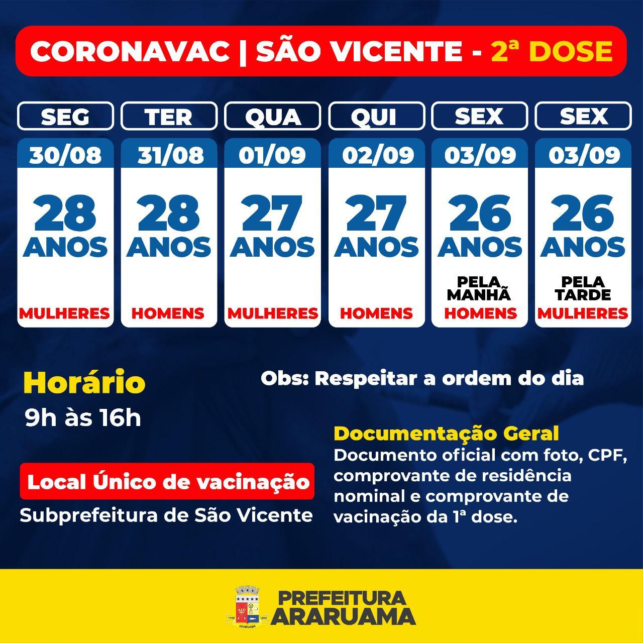 Calendário de vacinação da segunda dose da Coronavac exclusivo para a Subprefeitura de São Vicente