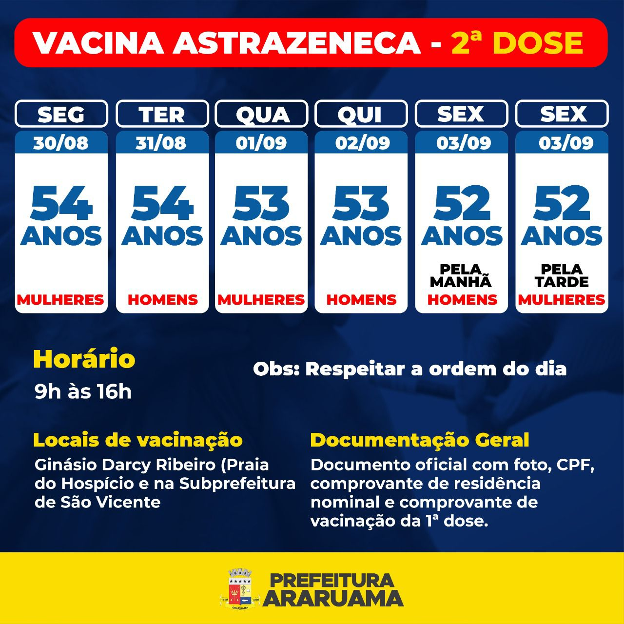 Calendário de vacinação da segunda dose da Astrazeneca