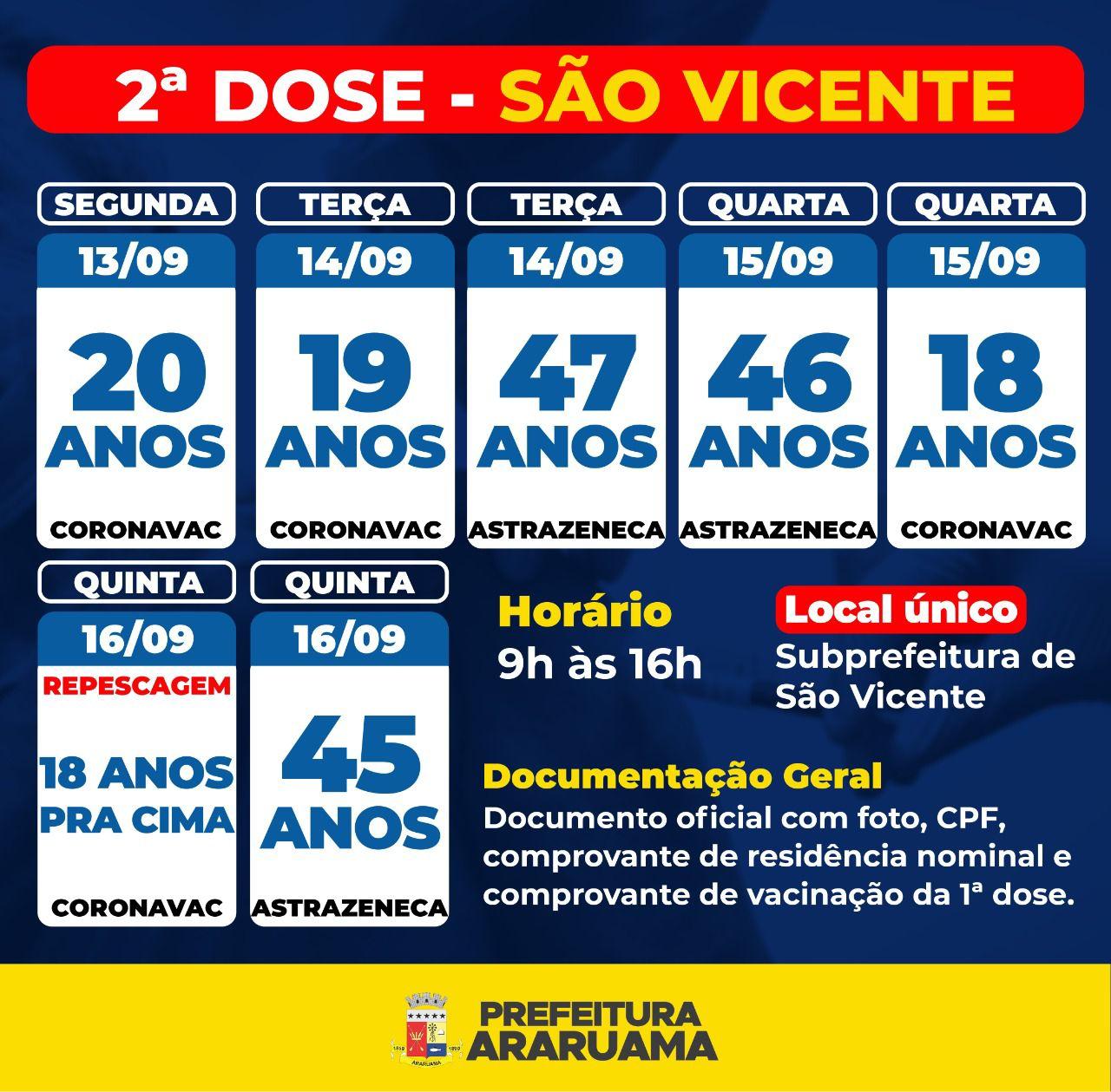Calendário de vacinação da segunda dose contra a COVID-19 em São Vicente