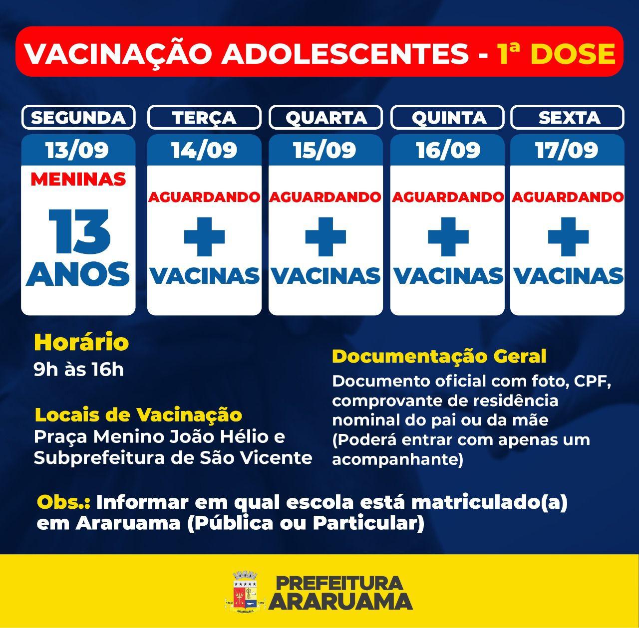 Prefeitura de Araruama vai vacinar meninas de 13 anos contra a COVID-19