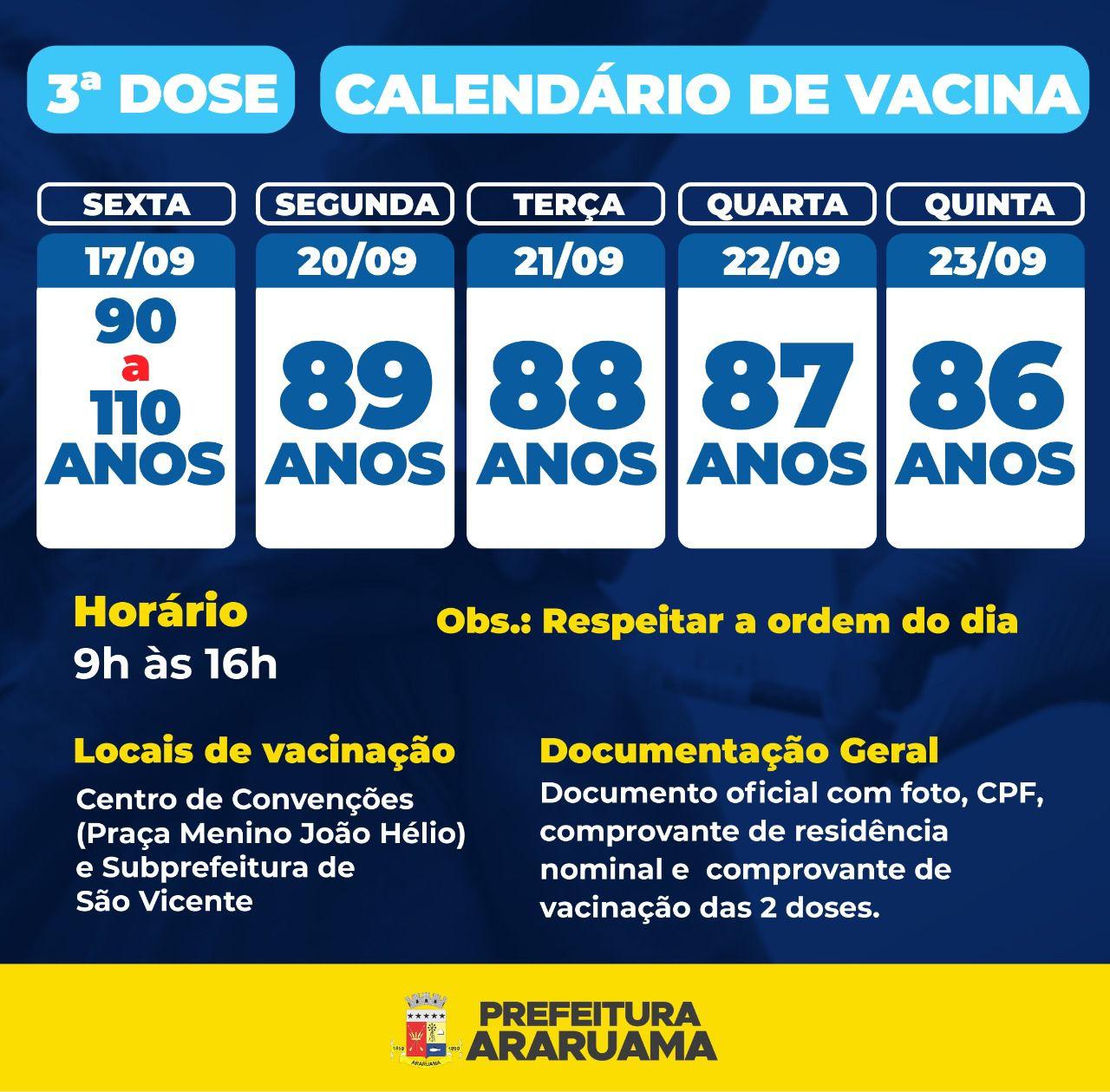 Calendário de vacinação da terceira dose contra a COVID-19 para idosos a partir de 86 anos