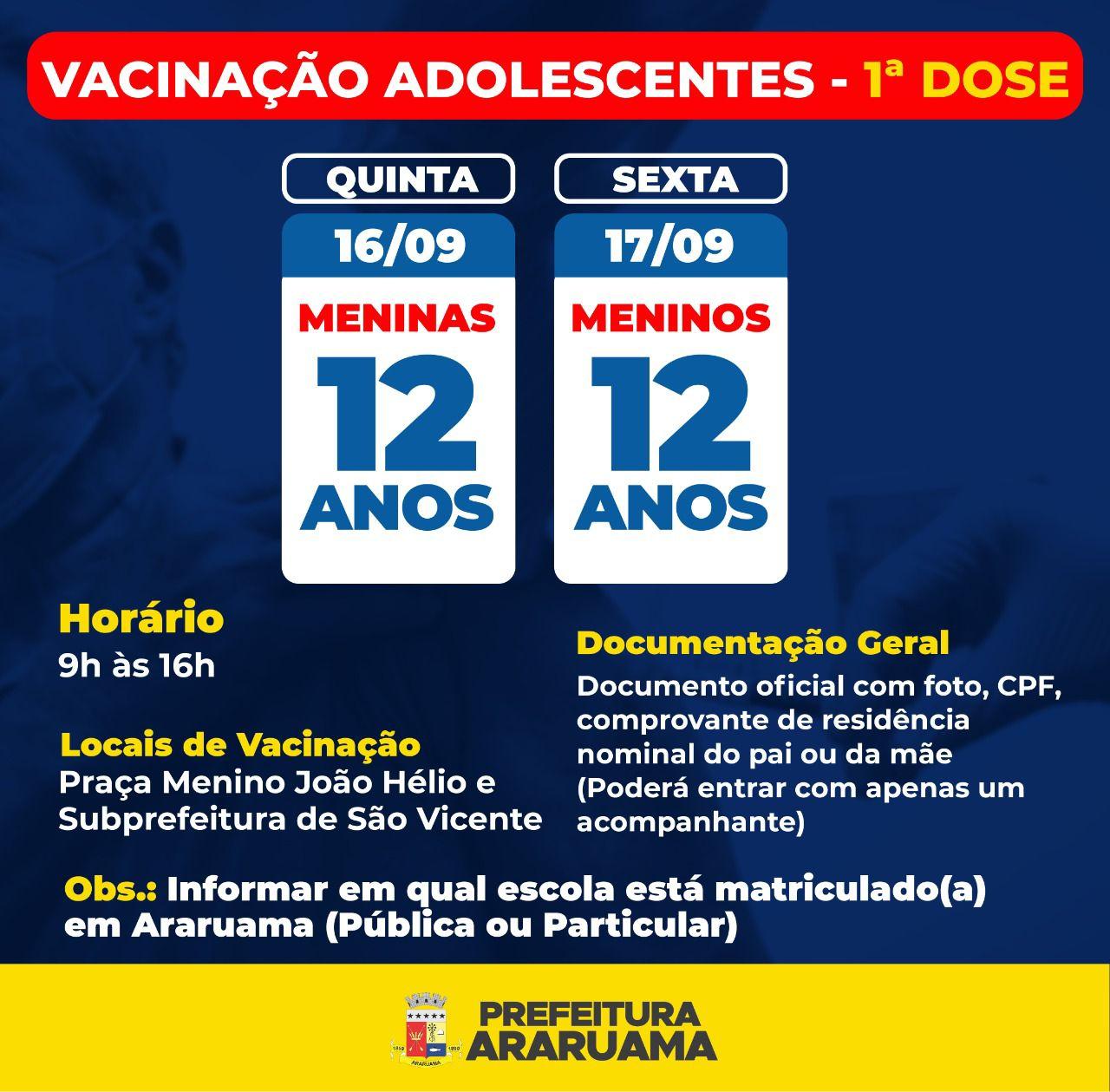Prefeitura de Araruama vai vacinar adolescentes de 12 anos contra a COVID-19
