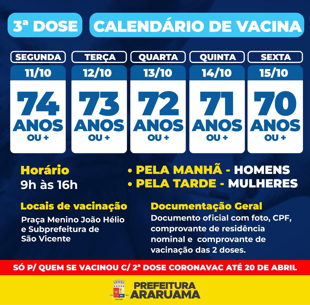 Calendário de vacinação da terceira dose para pessoas a partir de 70 anos